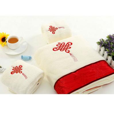 中國結毛巾浴巾三件套