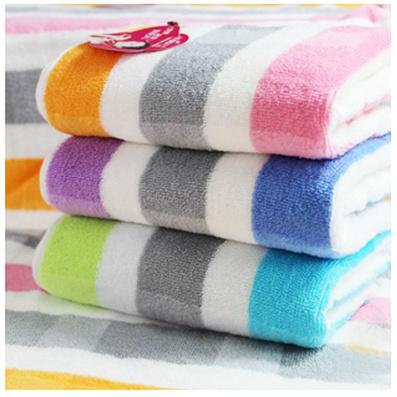 大彩條浴巾毛巾三件套