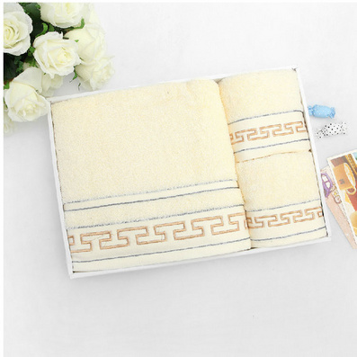 長城圖案純棉加厚浴巾毛巾三件套禮盒