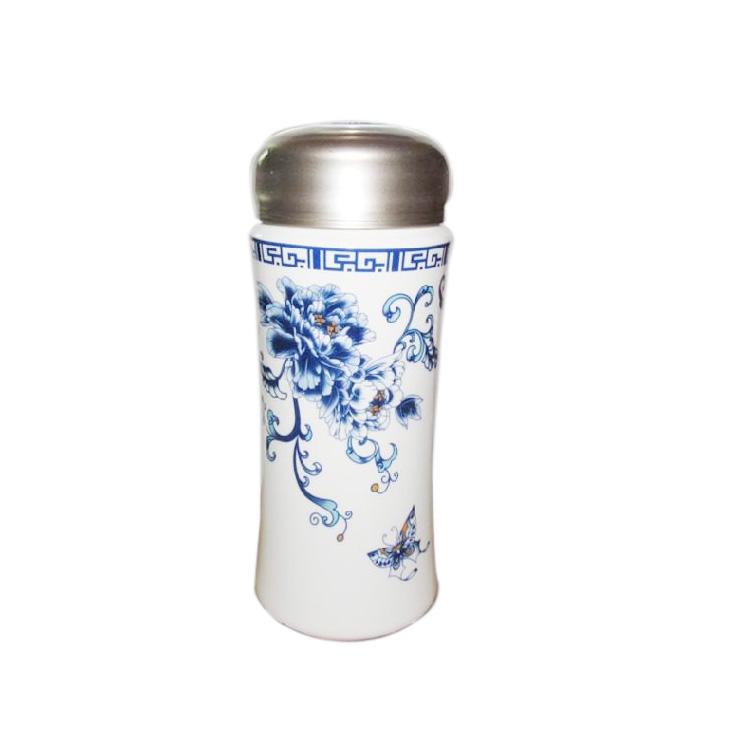 日出山水保溫杯玉瓷杯保溫杯定制