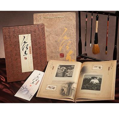絲綢彩印毛澤東珍貴舊影精裝郵票書