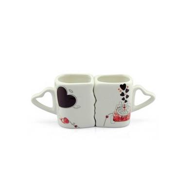 親嘴情侶對杯創意變色馬克杯陶瓷套裝定制