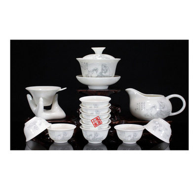 精品骨玉瓷陶瓷功夫茶具套装 青花整套礼品广告订做 可加印
