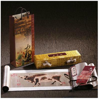 真丝织锦画《五牛图》出国外事馈赠礼品 会议商务礼物