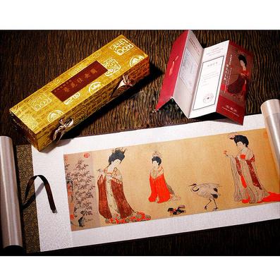 《簪花仕女圖》真絲織錦卷軸絲綢畫 商務收藏創意禮品