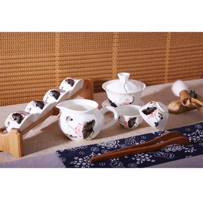 景德镇手绘青花五彩荷韵陶瓷功夫8头茶具 礼品整套装八角盖碗茶杯