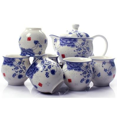 景德鎮陶瓷 青花瓷釉中彩 7頭雙層隔熱防燙茶杯茶壺