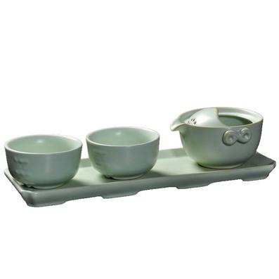 汝窯辦公茶具套裝 旅行茶具 簡易陶瓷泡茶器 快客杯一壺兩杯茶盤定制
