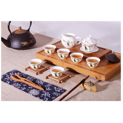 五彩手繪青花瓷 蓋碗款8絲瓜頭套組 景德鎮彩繪功夫茶具 八角介杯