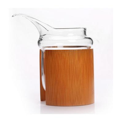 竹围鹰长嘴耐热耐高温玻璃茶具公道杯 精品竹套茶海公杯
