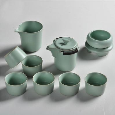 汝窯茶具茶壺蓋碗套裝開片清樽汝瓷 整套陶瓷冰裂茶具品茗杯
