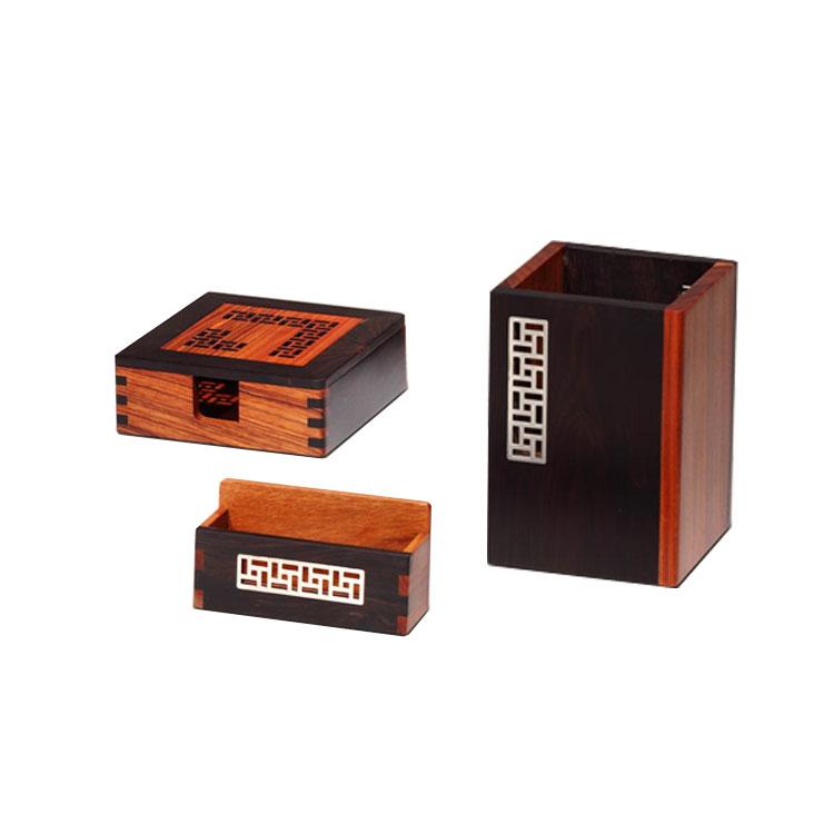 風車紋紅木筆筒 名片座 便簽盒三件套辦公禮品