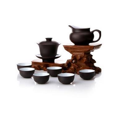 宜興正品紫砂茶具10件套裝批發 功夫蓋碗公道杯茶杯