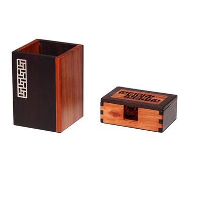 風車紋紅木筆筒名片盒名片夾兩件套工藝