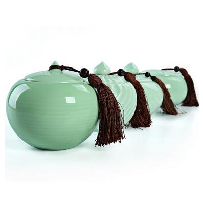 龍泉青瓷茶葉罐 陶瓷大號密封 儲存醒茶罐子