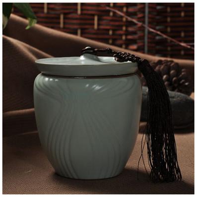 汝瓷茶具天青月白開片汝瓷茶葉罐 汝窯儲茶罐