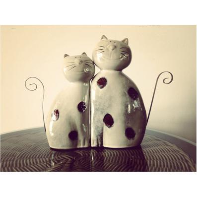 莊園貓 歐式田園窯變陶瓷情侶貓擺件 創意鐵藝陶瓷貓擺件婚房裝飾