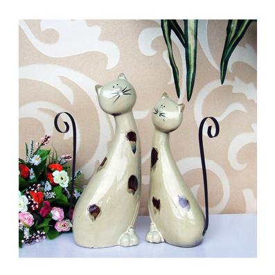 陶瓷貓咪動物家居裝飾品 擺件 隔板架 招財情侶貓