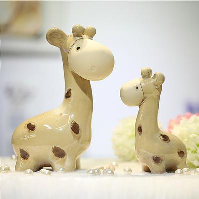 陶瓷母子鹿摆件 创意家居陶艺小鹿动物客厅家饰摆设