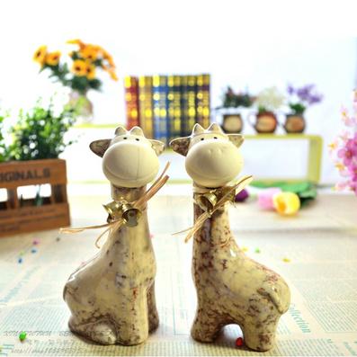 創意家居飾品禮品工藝品擺件 窯變彩釉陶瓷卡通小鹿情侶擺設