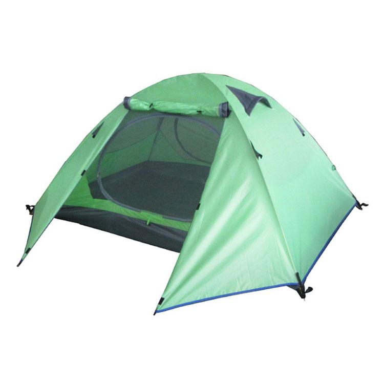 格子布雙層雙門防水帳篷