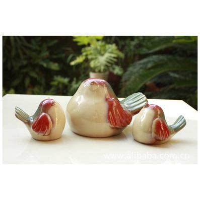 创意家居摆设 陶瓷家居摆设套3小鸟一家摆设