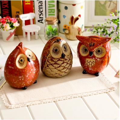 家居装饰摆设 陶瓷猫头鹰储蓄罐存钱罐
