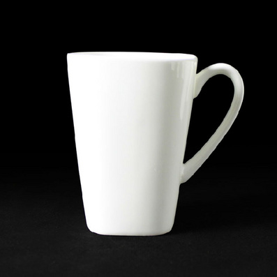 纯白骨瓷大方杯 奶杯马克杯