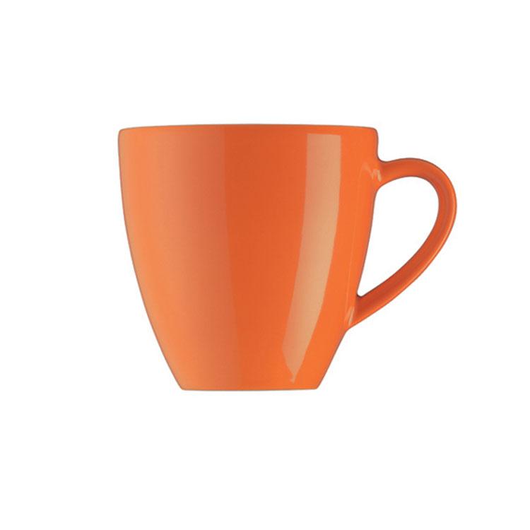內白橘黃色湯杯 內白外橙色馬克杯