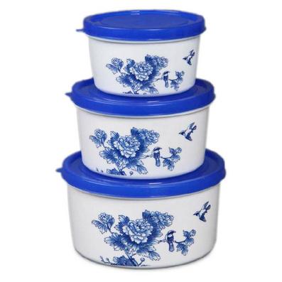 青花保鮮盒三件套 圓形保鮮盒套裝