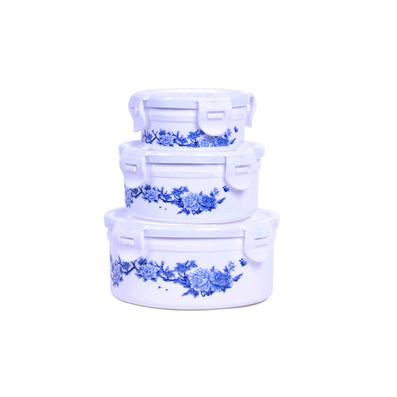 青花保鮮盒 青花圓形保鮮盒三件套