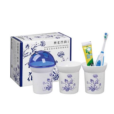青花瓷浴室三件套  塑料牙刷杯水杯