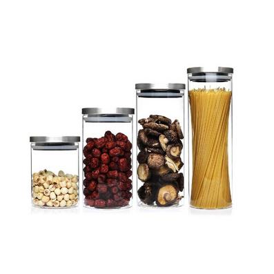 不銹鋼玻璃密封罐  儲物罐四件套定制