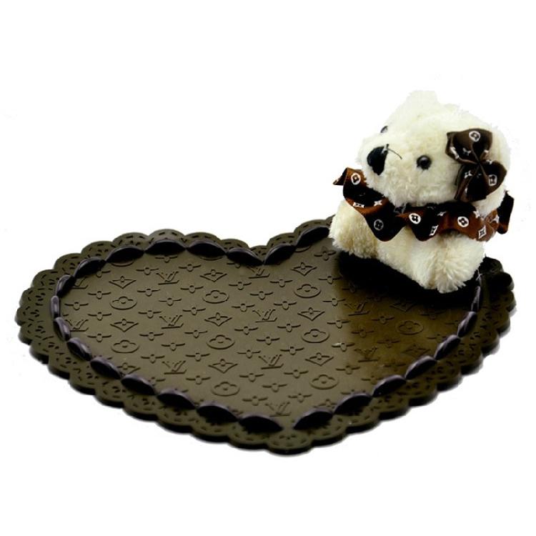 小熊公仔防滑墊 卡通立體心形小熊車用置物墊定制