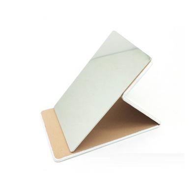 折叠化妆镜 便携方镜 不锈钢 pu镜子 定制