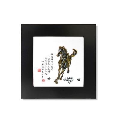| 奔馬| 浮雕掛畫 樹脂裝飾畫 中式壁畫 仿玉掛畫