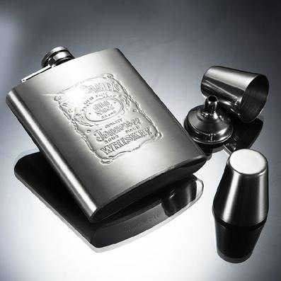 不锈钢酒壶 便携式7盎司 小酒壶送酒杯漏斗