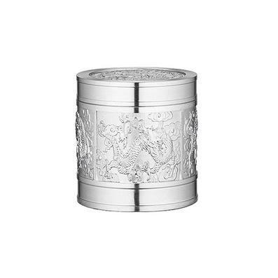 錫器錫盒 純錫小茶葉罐 飛龍在天 錫茶盒