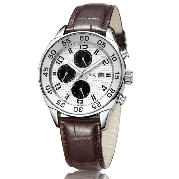 正品瑞士机芯表商务真牛皮表带男士手表