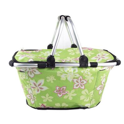 双提手带盖折叠购物篮 环保篮 促销礼品 折叠篮 购物篮定制