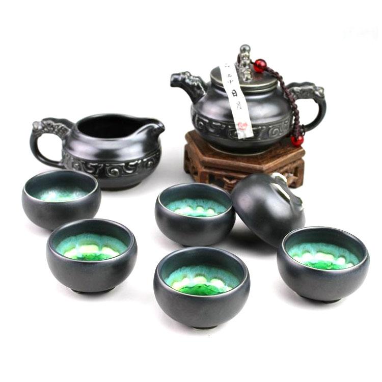 陶瓷功夫茶具礼套装 黑陶冰裂结晶釉茶壶茶杯公杯套组