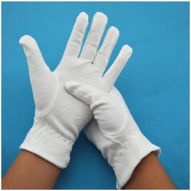100%純棉白手套 三筋帶扣 禮儀手套定制