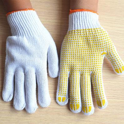 漂白棉紗點塑手套 PVC 防滑保暖手套定制