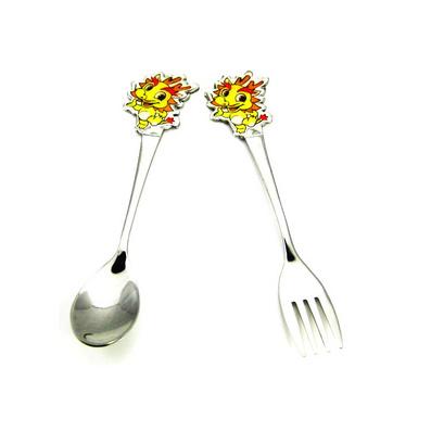 不銹鋼12生肖叉匙套裝餐具 兒童飯勺  生日禮品