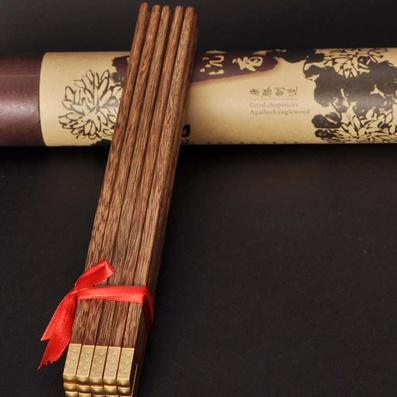 雞翅木筷祥云年年有魚熊貓筷子定制