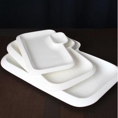 纯白西餐点心盘长方陶瓷盘子 寿司盘分隔