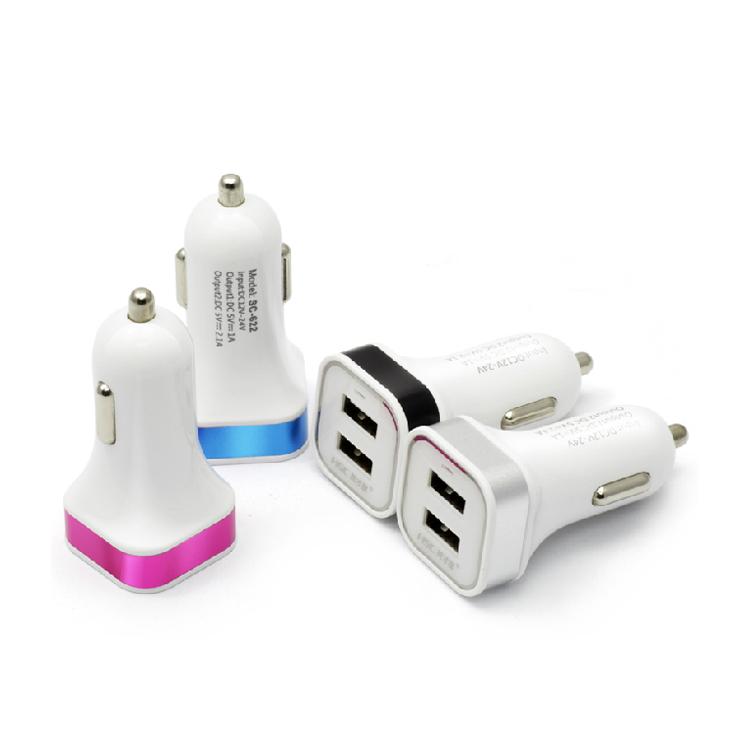 迷你车载充电器  3100毫安双USB车载充电器定制