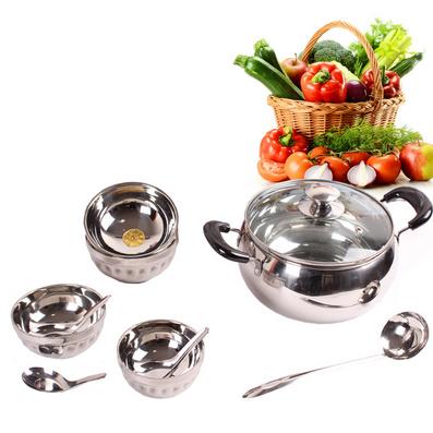 不銹鋼鍋碗十件套 禮品廚具 禮品餐具 餐具套裝定制