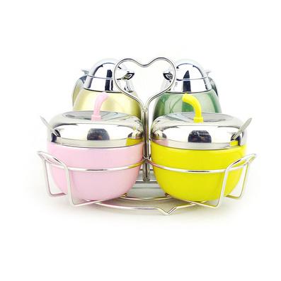 彩色蘋果型調味盒套裝 調味瓶套裝定制