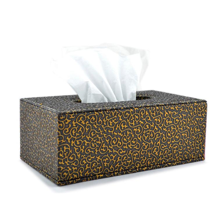 奢華黑底金雕花紋長方形紙巾盒紙巾盒 紙抽盒 抽紙盒